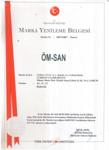 ÖM-SAN MARKA TESCİL BELGESİ 2013